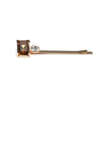 Glamorousky gold Simple and Fashion Plated Gold Champagne Cubic Zirconia Square Hair Clip 39DECAC29B75A8GS_1