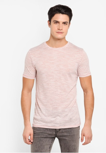Topman 粉紅色 休閒條紋T恤 TO413AA0T1NTMY_1