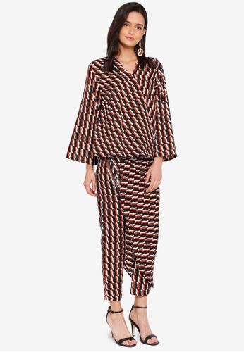 Lubna brown and green Kimono Wrap Co-ords 0ABA2AA43B32C0GS_1