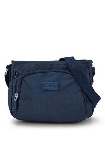 Bagstationz navy Crinkled Nylon Sling Bag 443C5AC4E66BE7GS_1