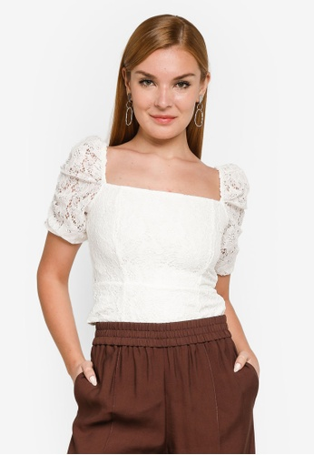 Forever New white Casey Ruched Sleeve Top BA67CAAC4CF72DGS_1