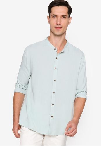ZALORA BASICS green Basic Oversized Grandad Collar Shirt 816F5AA4098BCCGS_1