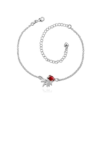 Glamorousky red Silver Plated Fashion Elegant Goldfish Cubic Red Zircon Anklet F5282AC355EA54GS_1