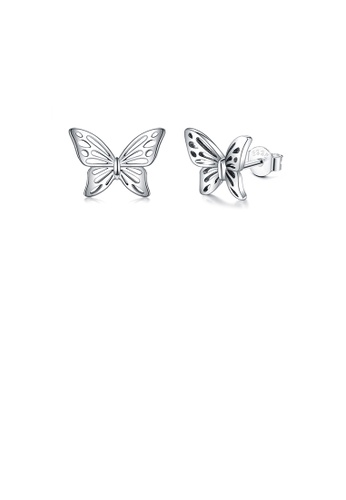 Glamorousky silver 925 Sterling Silver Fashion and Elegant Butterfly Stud Earrings 7959DAC54C9B01GS_1