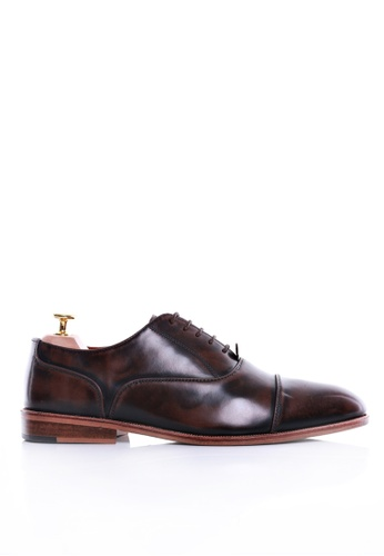 Zeve Shoes brown Zeve Shoes Oxford Cap Toe Lace Up - Dark Brown Polished Leather 9C9F2SHAF0030EGS_1