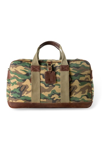 Gnome and Bow green Camo Green Canvas Leather Duffel GN097AC31LQISG_1