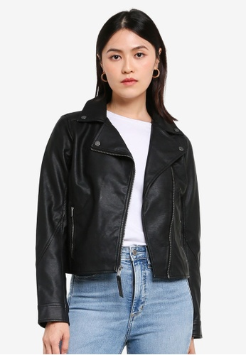 Hollister black Leather Jacket A72A1AA950F6DFGS_1
