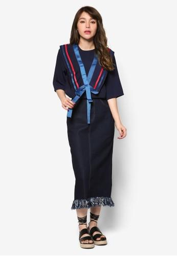 撞色緞esprit taiwan帶水手服上衣, 服飾, 上衣