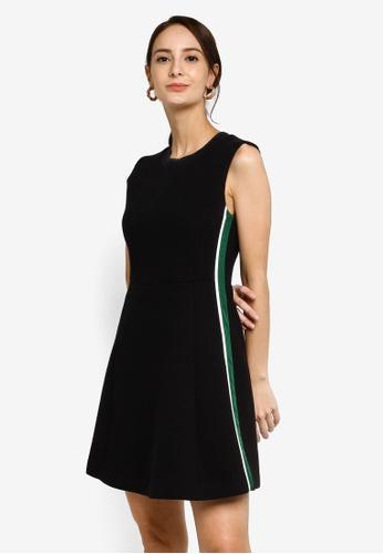 Hopeshow black A-Line Sleeveless Mini Dress with Side Stripes 1C32FAA99124A9GS_1