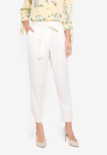 Dorothy Perkins white White Satin Tie Trousers 0EC5CAAA0F77DDGS_1
