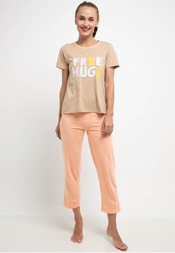 Puppy orange and brown Pyjama Pijama Short Sleeve Long Pants Sleepwear EB9D0AA1AC2ED3GS_1