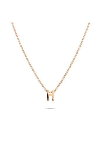 Bullion Gold gold BULLION GOLD Initials Brick Alphabet Letter Necklace Rose Gold Layered Steel Jewellery - H 940EFAC9E2E88AGS_1