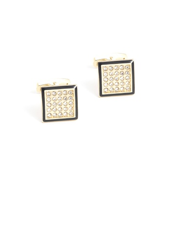 Glamorousky white Fashion Bright Plated Gold Geometric Square Cufflinks with Cubic Zirconia 91EABACEEA9934GS_1