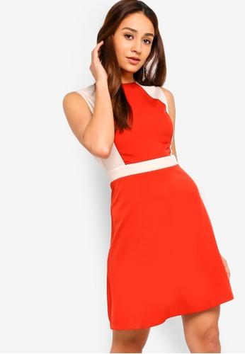 ZALORA orange and multi Colorblock A-Line Dress 73D55AA46EE2CDGS_1