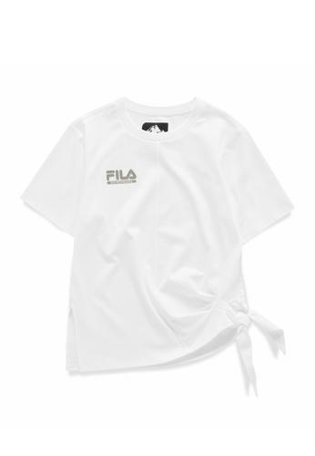 FILA white FILA x White Mountaineering Logo Side Split Self-Tie T-shirt 8DCEAAAA05FCA9GS_1