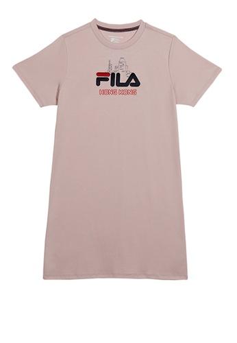 FILA pink FILA HONG KONG Logo Cotton Dress 65B29AA931F975GS_1