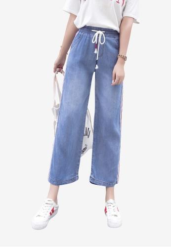 Lara blue Women Denim Elastic Waist Stripe Wide Leg Ankle-length Pants 1AD3EAA24C79CEGS_1