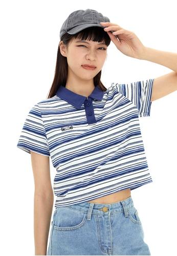Twenty Eight Shoes Short Contrast Stripe T-shirt HH0030 89E18AAC73FCC0GS_1
