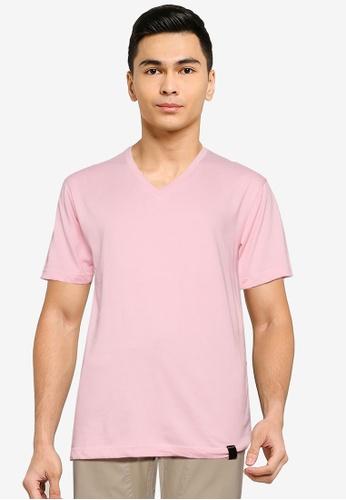 UniqTee pink Essential V-Neckline Tee 88038AA25BA73AGS_1