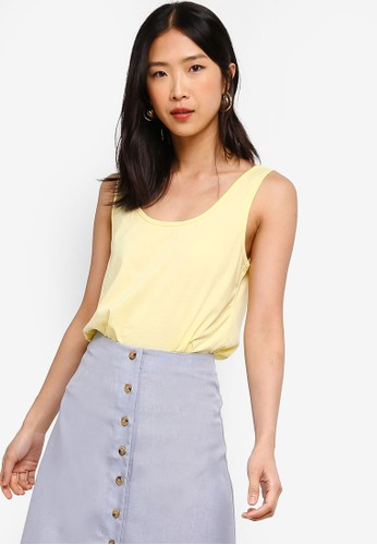 ZALORA BASICS yellow Basic Tank Top 5C844AAFC3E568GS_1