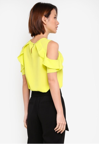 0d324423e78ce4 Buy Dorothy Perkins Lime Ruffle Cold Shoulder Top Online