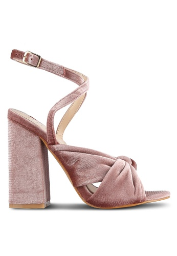 Velvet pink Front Wrap Ankle Strap Heels 5F653SH9CAA92AGS_1