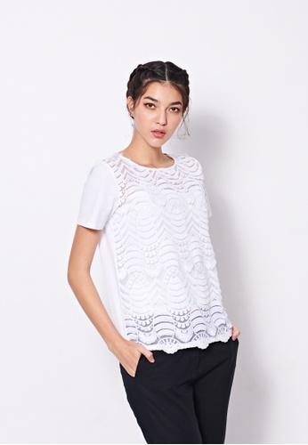 Sisley white Lace T-shirt ECCF8AA42238CBGS_1