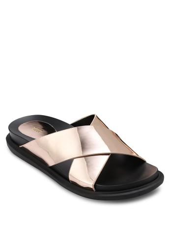 亮面交叉寬帶esprit 西裝涼鞋, 女鞋, 懶人鞋