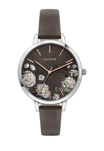 Oui & Me grey Grande Fleurette Quartz Watch Grey Leather Strap ME010110 45662AC1BBBAE5GS_1