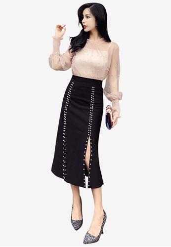 Lara black Women's Bead Slit Midi Skirt 76DADAAEECA725GS_1