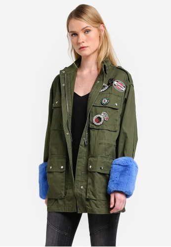 Mango green Patched Contrasted Cuffs Parka MA193AA0ROQ5MY_1
