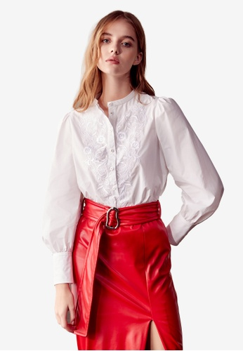 iROO white Floral Embroidered Blouse F09BEAAF56F666GS_1
