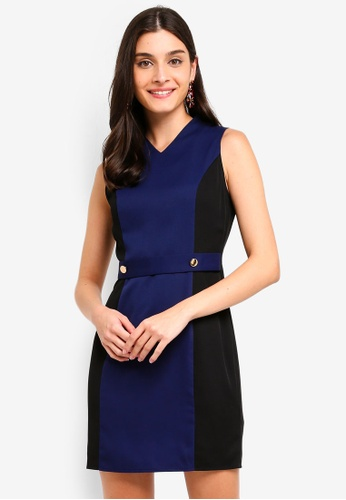 ZALORA black and navy Button Detail Contrast Sheath Dress BF609AA0C26B3AGS_1