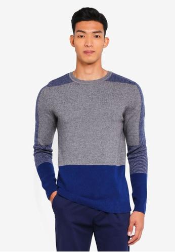 Sisley blue Contrast Knit Sweater. 3B541AAED2A143GS_1