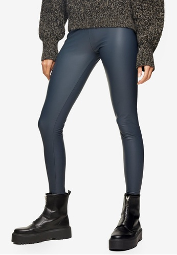 TOPSHOP green Teal Leather Look Leggings 670D3AA6B257F6GS_1