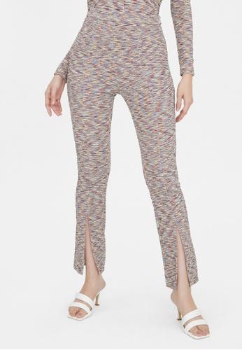 Pomelo multi Front Slit High Waist Pants - Multi Color 8D79BAA324EB5AGS_1