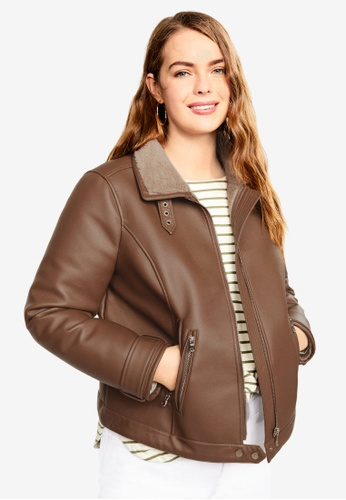 c2cef4ed8a2 Violeta by MANGO brown Plus Size Faux-Fur Lining Biker Jacket  6F5E4AA2BB9E17GS 1