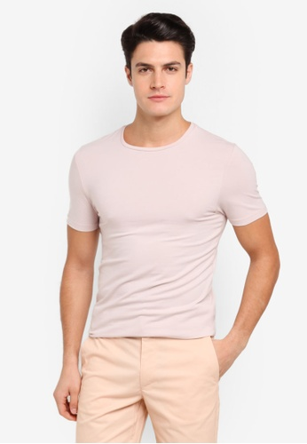 Burton Menswear London pink Fresh Pink Muscle Fit Crew Neck T-Shirt BU964AA0T1HKMY_1