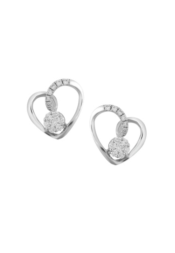 TOMEI white TOMEI Earrings of Enthralling Hearts with Sparkles, Diamond White Gold 375 (E2163V) F0442AC1D365BEGS_1