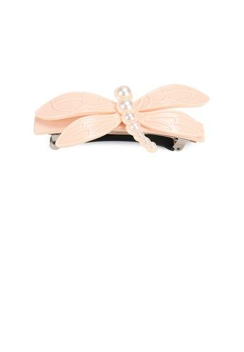 Glamorousky white Fashion Simple White Dragonfly Imitation Pearl Hair Slide E00E4ACC67CE55GS_1