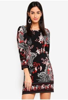 102ec02136 Wallis black Petite Black Paisley Print Shift Dress 31687AAA90404CGS 1
