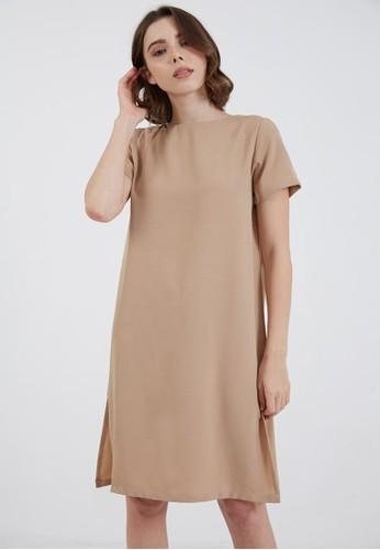 Berrybenka Label brown Joy Simple Dress Brown 74466AA0C2AAC4GS_1