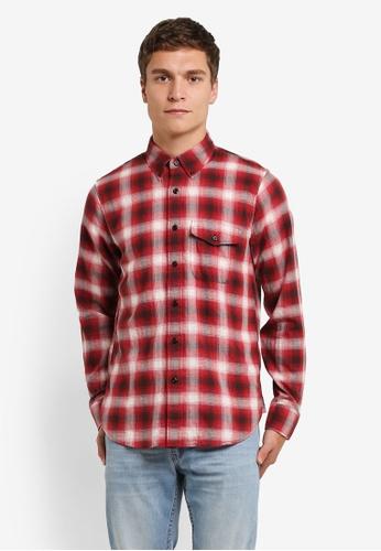 Abercrombie & Fitch red Herringbone Rumple Shirt AB423AA0RNXHMY_1