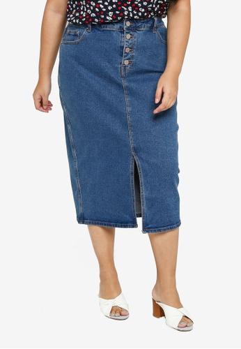 1c2891b2f8af LOST INK PLUS blue Plus Size Denim Pencil Skirt With Button  8CA2DAA5B6F0ACGS_1