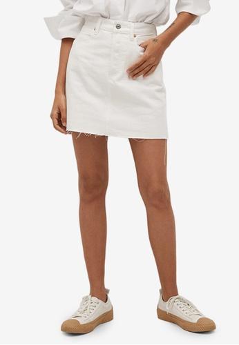 Mango white Denim Mini Skirt 6828CAA1E6D5FEGS_1