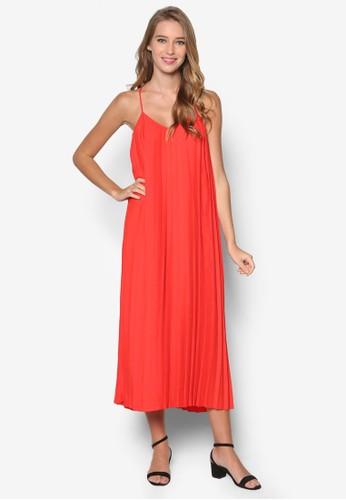 削肩褶飾連esprit outlet 台中身長裙, 服飾, 洋裝