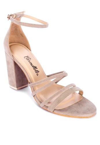 CARMELLETES beige Strappy Heeled Sandals B64BCSH9BDEFD1GS_1