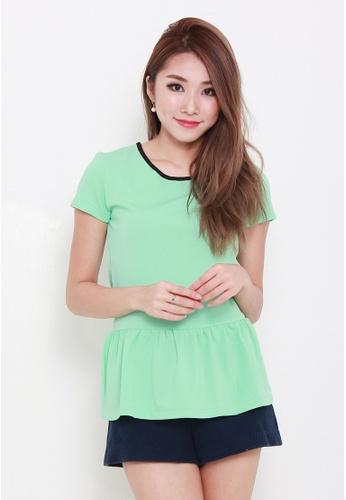 Leline Style green Jeanne Ruffles Blouse LE802AA08FCHSG_1