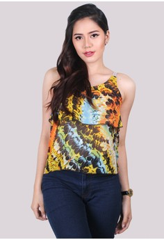 Meldy Printed Layered Spaghetti Top