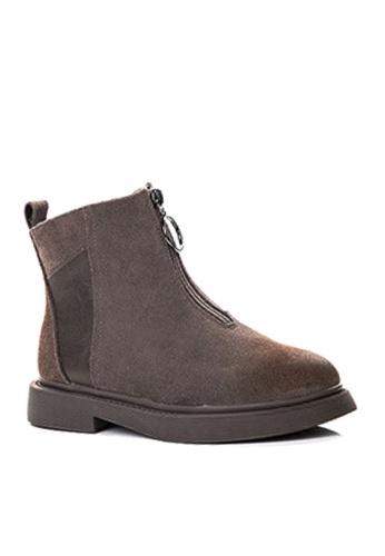 Twenty Eight Shoes 褐色 磨沙牛皮和頭層牛皮中筒靴 VB1555 297E5SH2E1CA3BGS_1